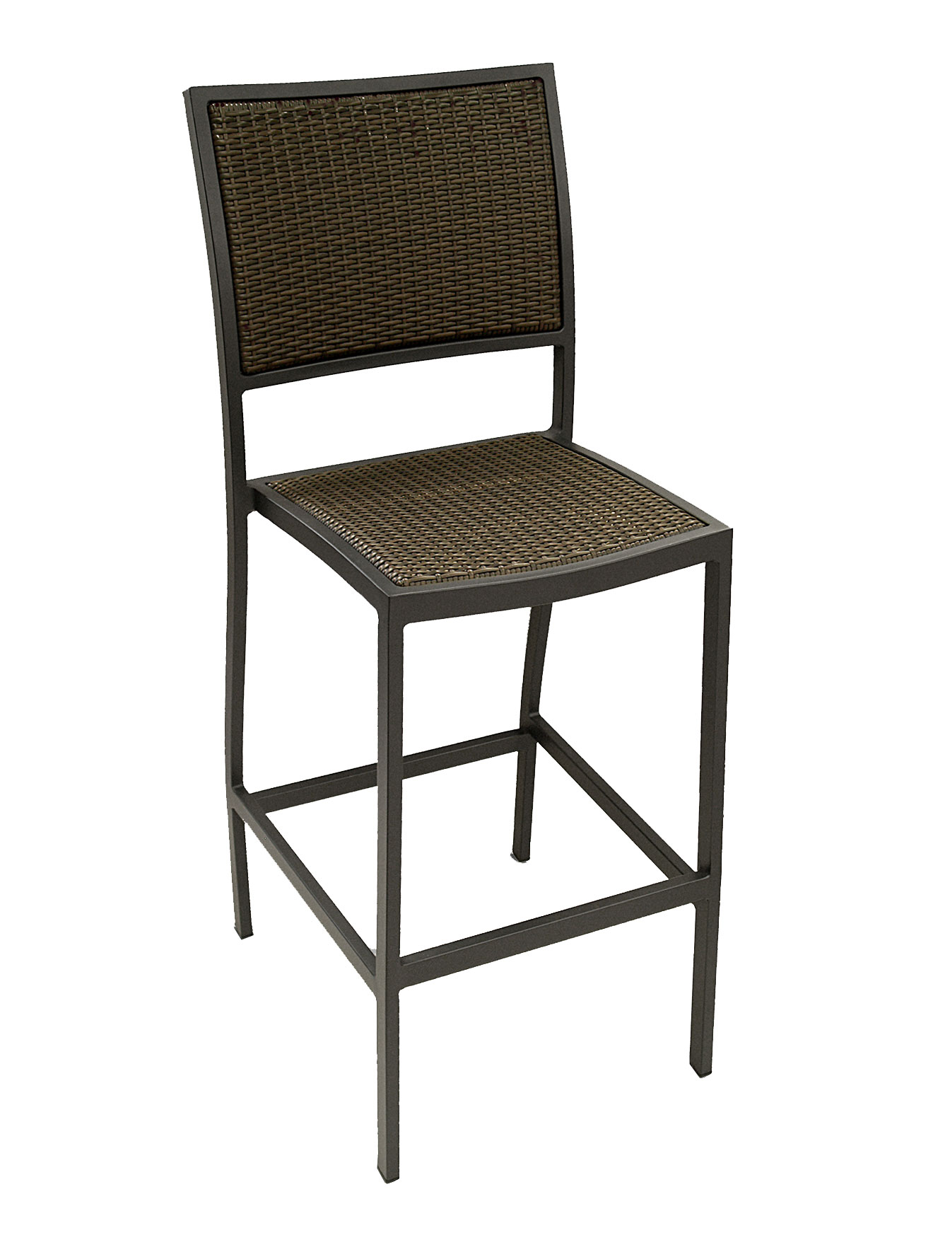 Weave Seat Aluminum Square Frame Armless Bar Stool