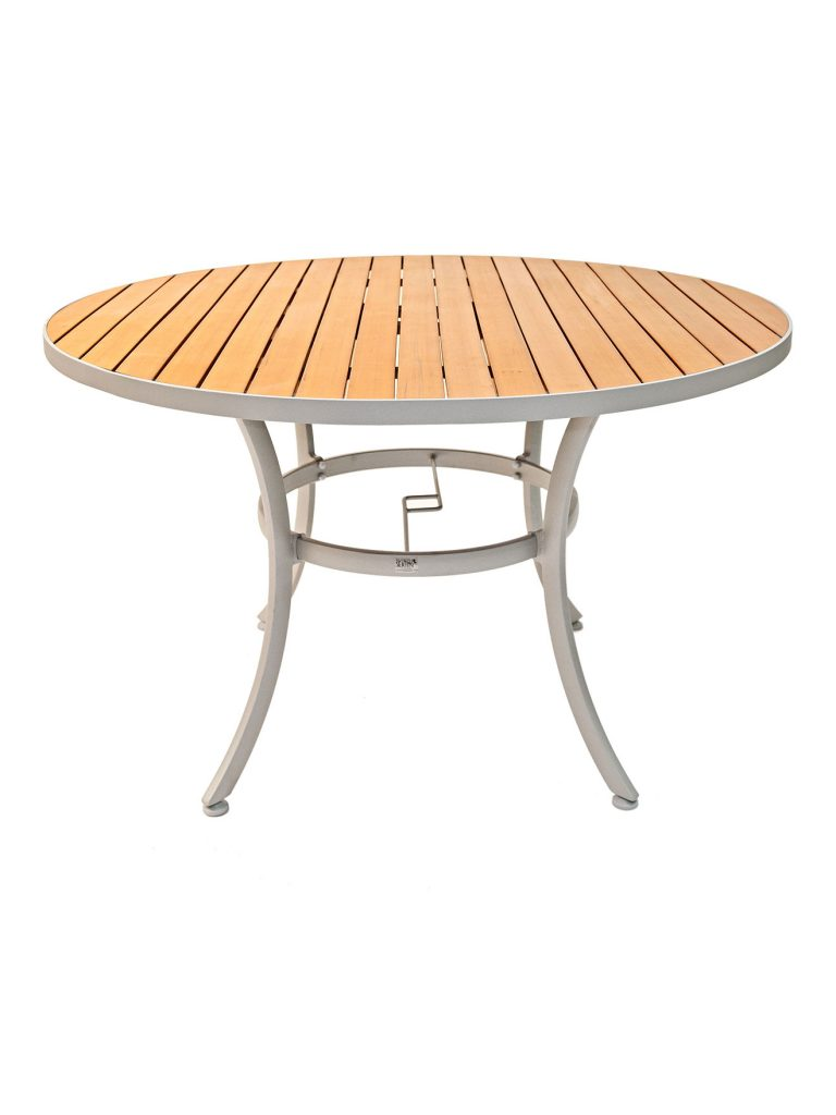 Faux teak metal frame round table top sttaptr commercial for Round teak table top