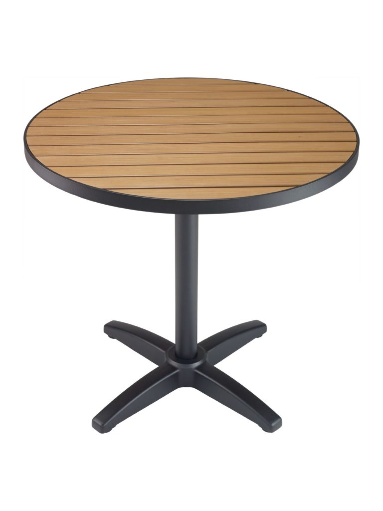metal frame round table top faux teak metal frame round table top